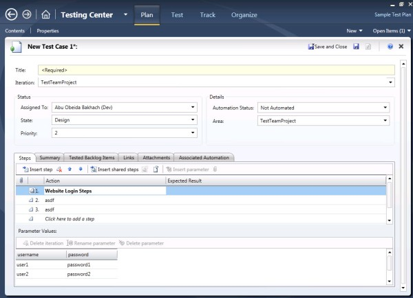 Creating a Test Case with Microsoft Test Manager 2010