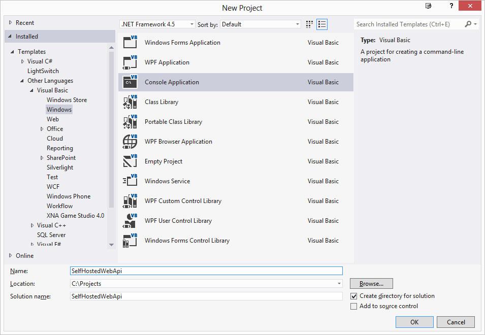 Run ASP NET Web API Inside Your Application -- Visual Studio