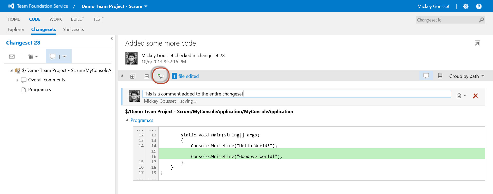 Collaborative Commenting with TFS 2013's Lightweight Code