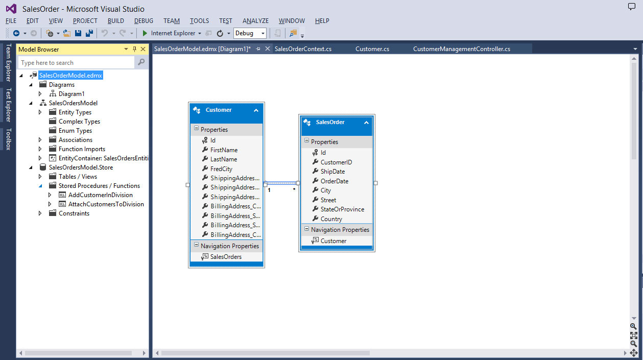 Calling Stored Procedures from Entity Framework -- Visual