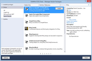Installing Moq Nuget Package