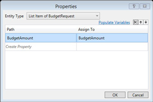 Click Populate Variables Under BudgetAmount