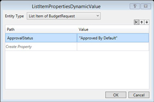 Setting ApprovedByDefaultUpdate Activity's Properties