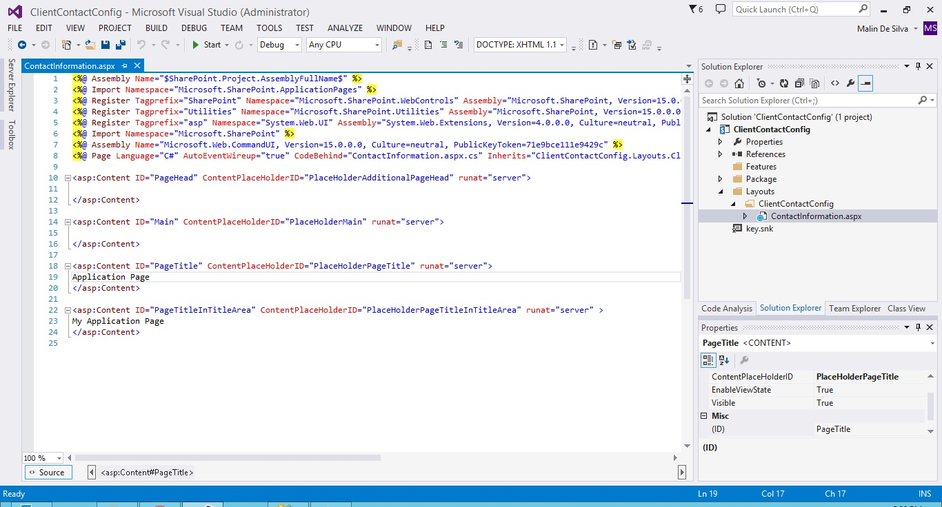Creating SharePoint Application Pages with Visual Studio