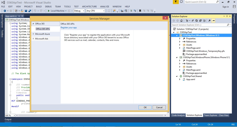 Accessing Office 365 Services via Visual Studio -- Visual Studio