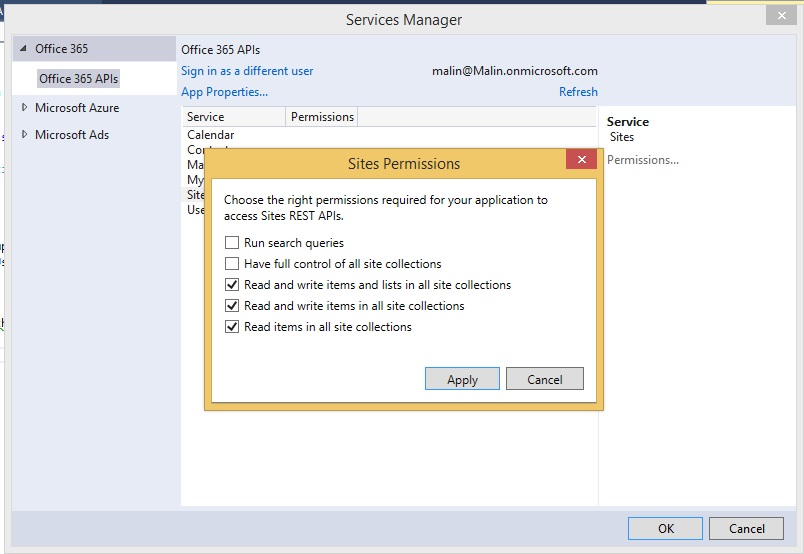 Accessing Office 365 Services via Visual Studio -- Visual Studio