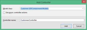 Selecting Customer Model Class for CustomersController