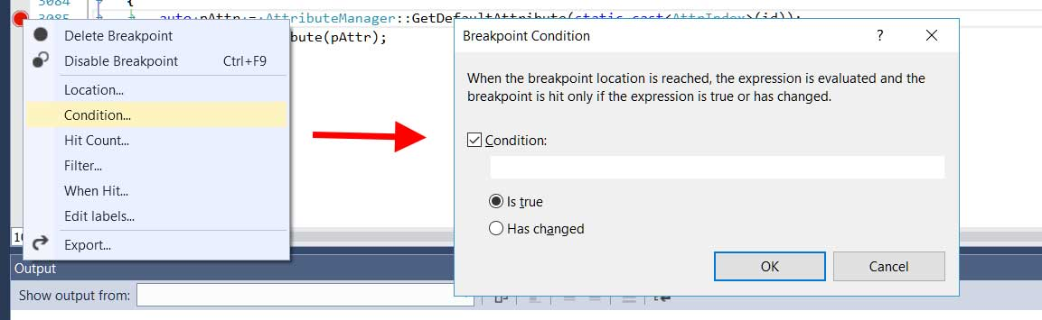 Understand Conditional Breakpoints in C++ -- Visual Studio