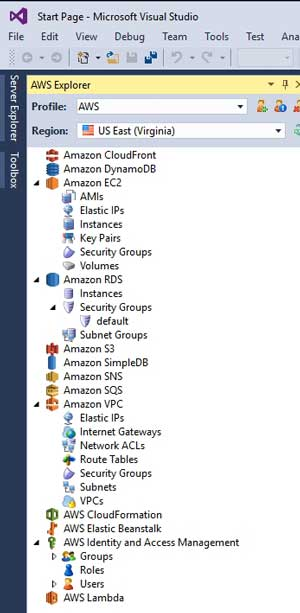 The Toolbox Shows a Variety of Amazon Services