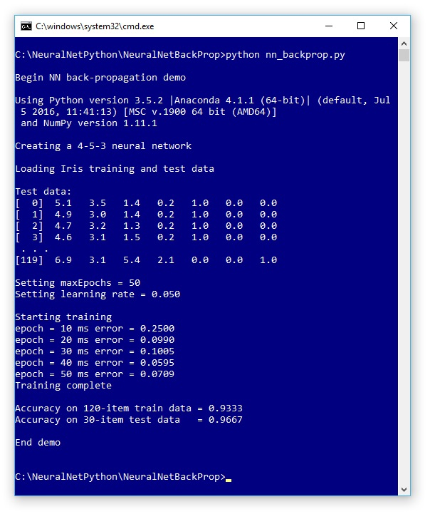 Neural Network Back-Propagation Using Python -- Visual