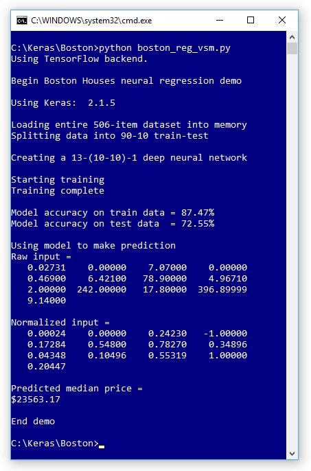 Neural Regression Using Keras -- Visual Studio Magazine