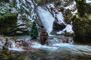 Bob working on a Spirit of Christmas shot at Libby Creek Falls