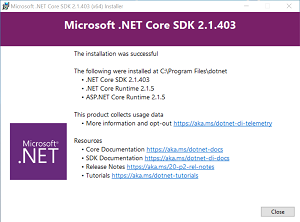 Completed .NET Core SDK Installation