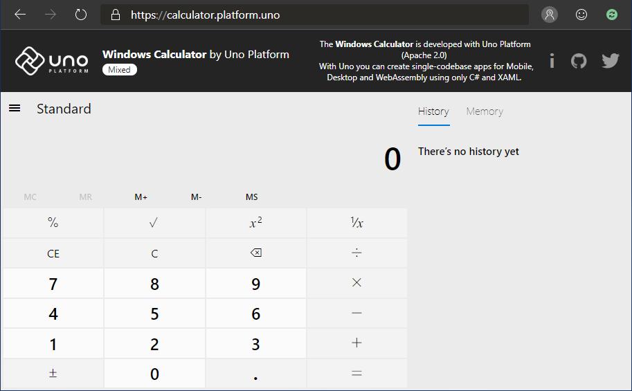 Uno Platform Ports Open Source Windows Calculator (C++) to Web/iOS