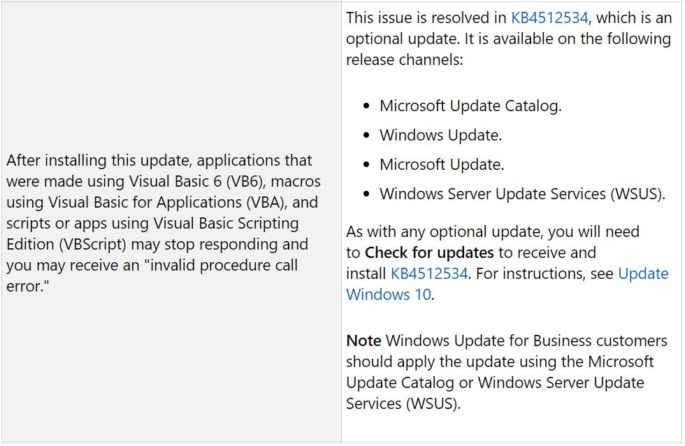 Windows Patch Tuesday Update Borks Visual Basic Apps for