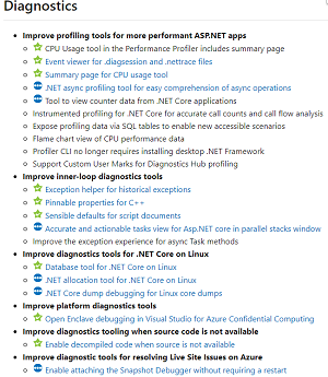 Visual Studio Roadmap for Diagnostics