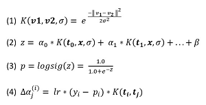 Figure 3: Equations for Kernel Logistic Regression