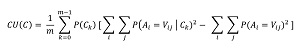 Math Equation for Category Utility