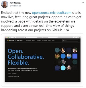 Microsoft Open Source Twitter Announcement