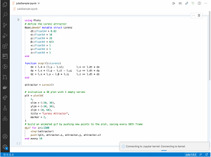 A Julia Notebook in VS Code in Animated Action Using the Jupyter Extension