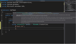 Calling CreateFile via PInvoke Static Class with C#/Win32 in Animated Action