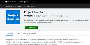 Project Reunion in the Visual Studio Marketplace