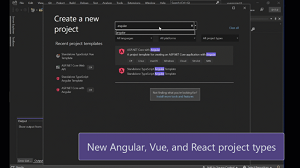 New types of Angular, Vue, and React projects in animated action