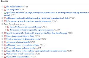 Blazor in the ASP.NET Core for .NET 6 Roadmap