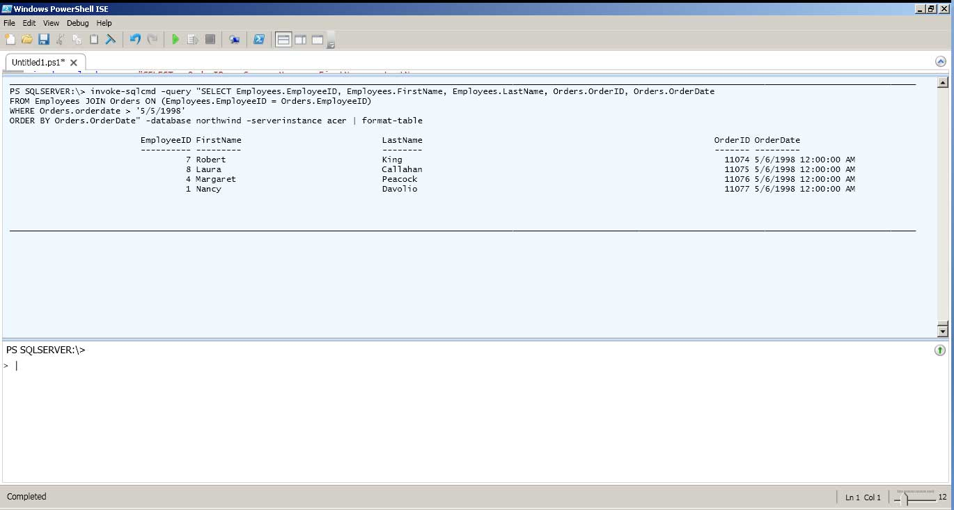 SQL Server query against Northwind executed in PowerShell