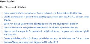 Blazor Desktop User Stories